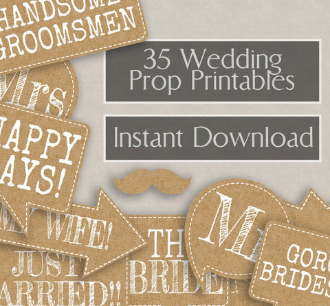 35 x Rustic Burlap Effect Wedding Photo Booth Props
