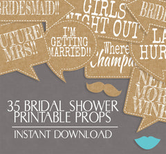 35 x Rustic Effect Bridal Shower Photo Booth Props