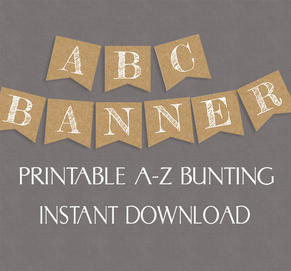 Rustic Banner, Burlap Effect Printable Alphabet and Numbers