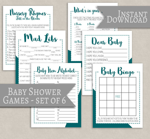 Teal Baby Shower Games, Gender Neutral Showers, Set of 6