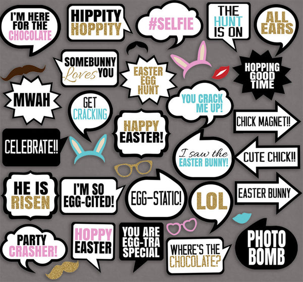 35 x Easter Themed Photo Booth Props