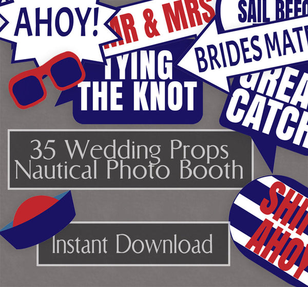 35 x Nautical Wedding Photo Booth Props