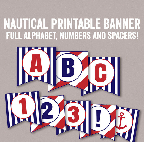 Nautical Red and Blue Banner DIY Printable - 2 Full Alphabets/Numbers