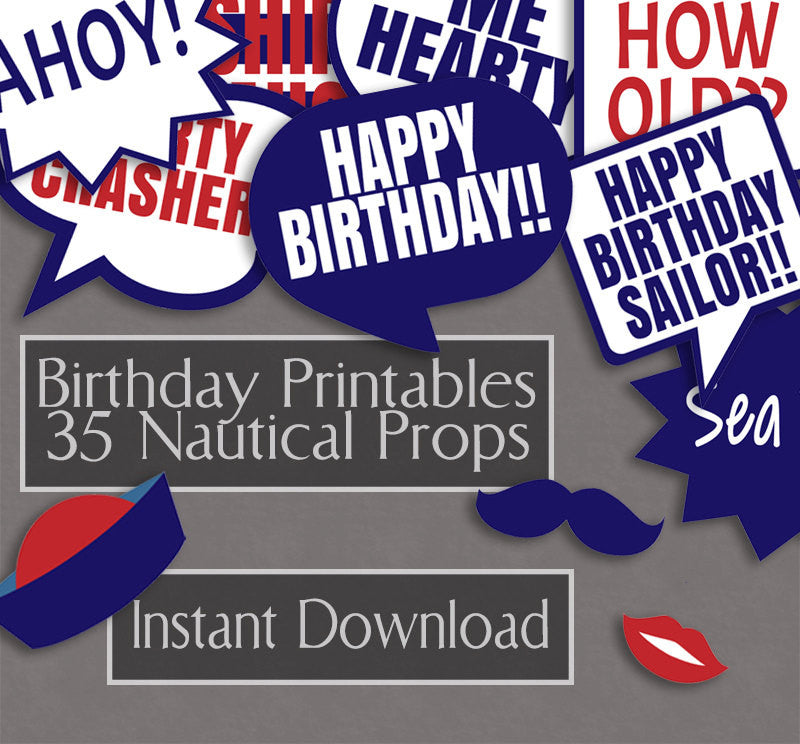 35 x Nautical Birthday Photo Booth Props