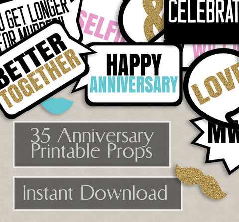 35 x Anniversary Printable Photo Booth Props