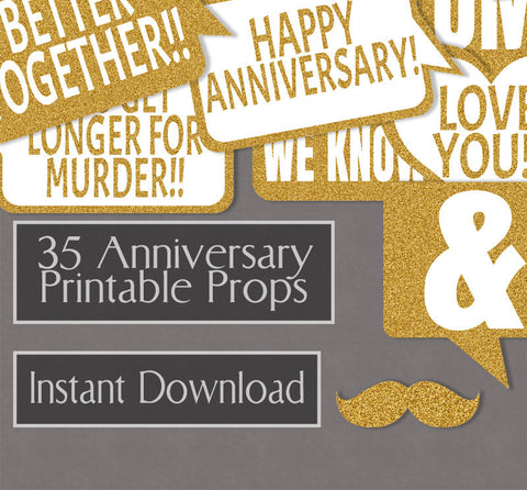 35 x Anniversary Photo Booth Printables - Glitter Gold Party Props