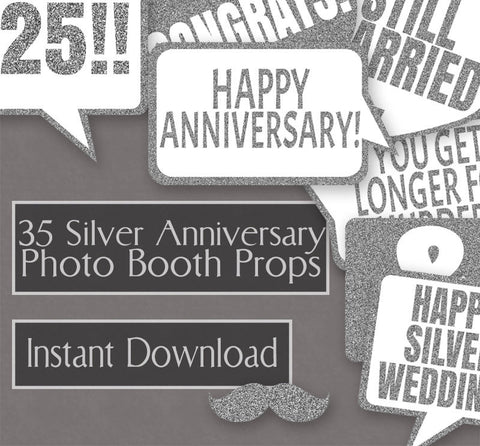 35 x 25th Anniversary Photo Booth Props