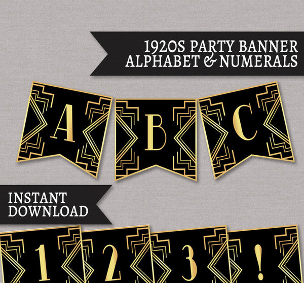 Gatsby Banner for 1920s Party - Full Alphabet/Numbers