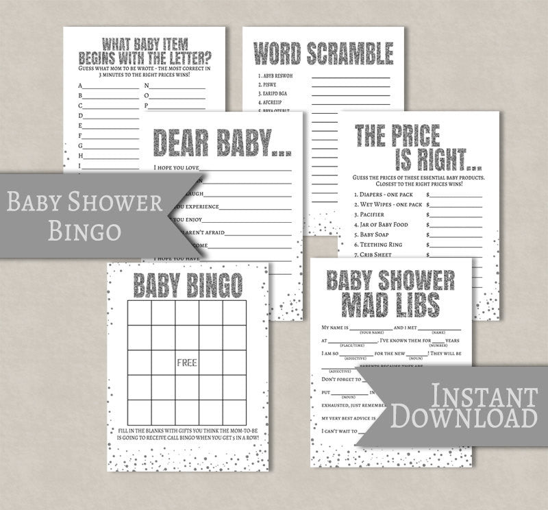 Silver Glitter Baby Shower Printable, Set of 6
