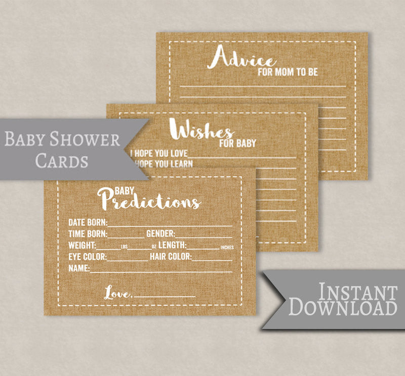 Rustic Baby Shower, Burlap Style Set of 3