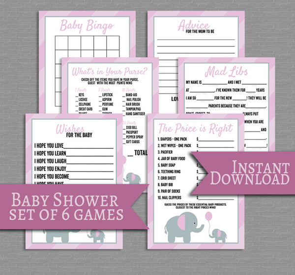 Pink Baby Shower Printable Games, Set of 6, Pink Elephant Design