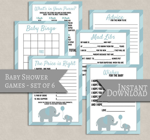 Blue Baby Shower Printable Games, Set of 6, Blue/Grey Elephant Theme