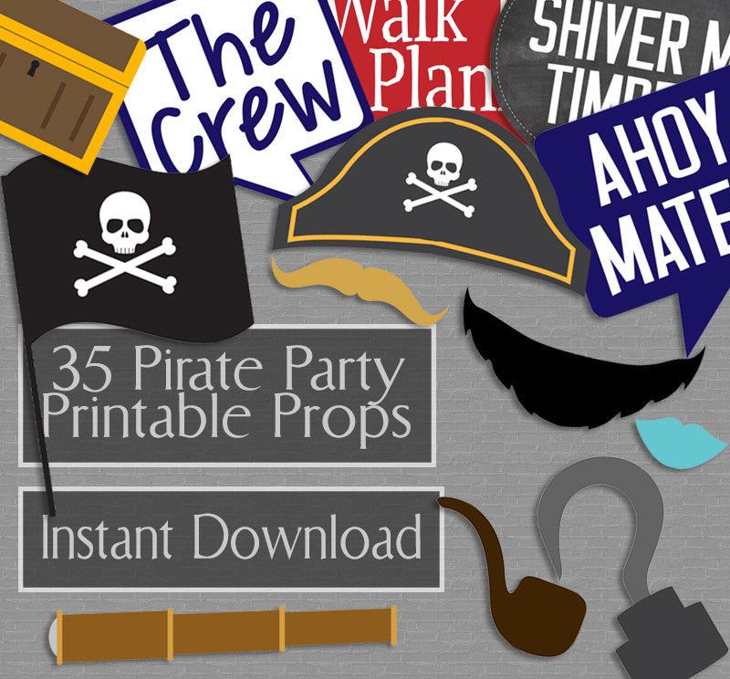 35 x Pirate Party Photo Booth Props