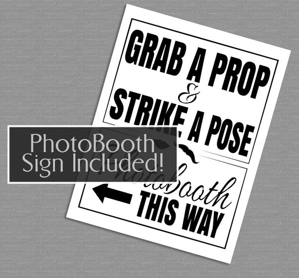 35 x Any Color Party Photo Booth Props - Save ink by printing on any color cardstock