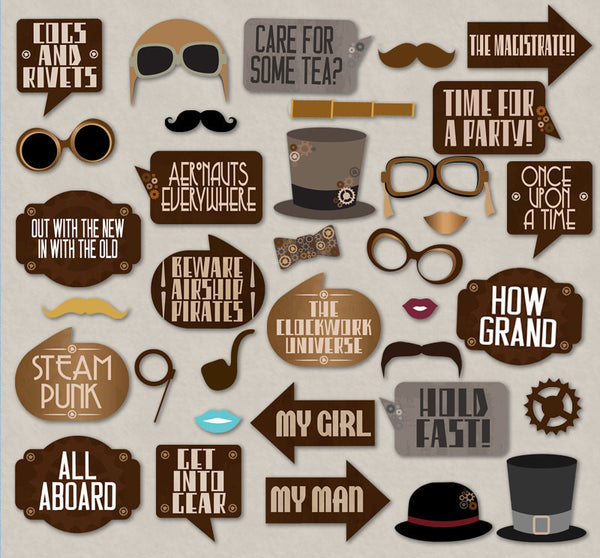 35 x Steampunk Party Theme Printable Props