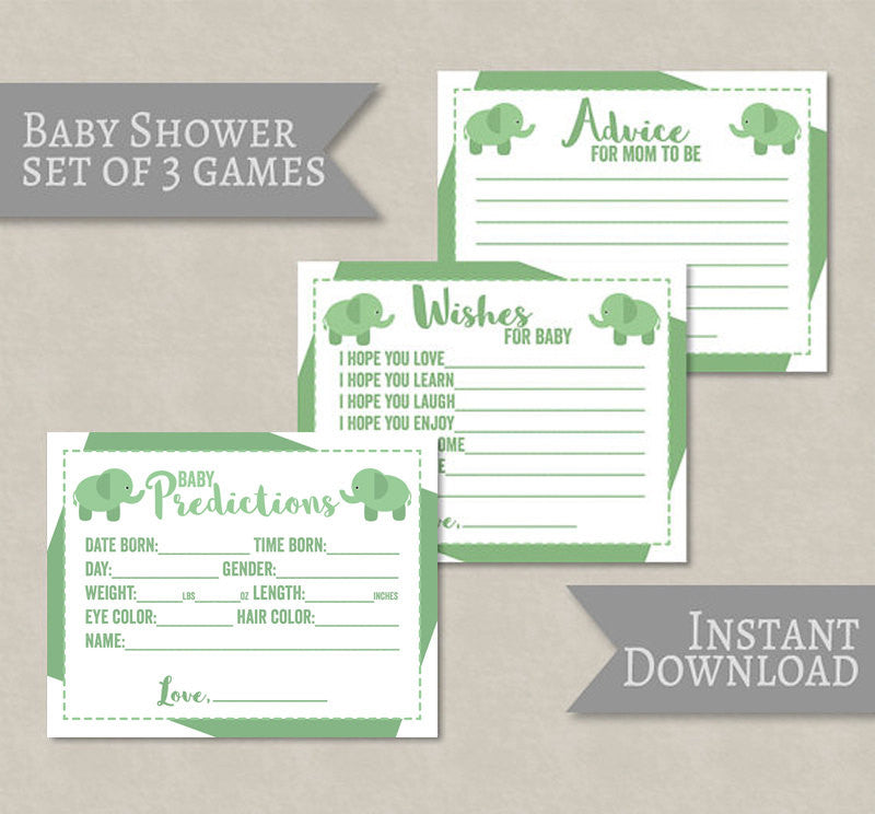 Elephant Baby Shower Printable Games, Green Gender Neutral Set of 3