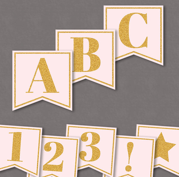 Pink and Gold Glitter Printable DIY Banner - Full Alphabet/Numbers