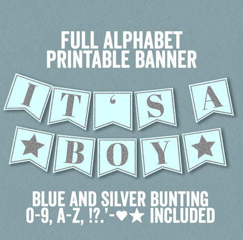 Blue and Silver Glitter Printable Banner - Full Alphabet/Numbers