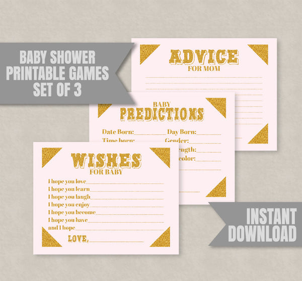 Baby Shower Printable Games, Set of Three, Pink and Gold Glitter
