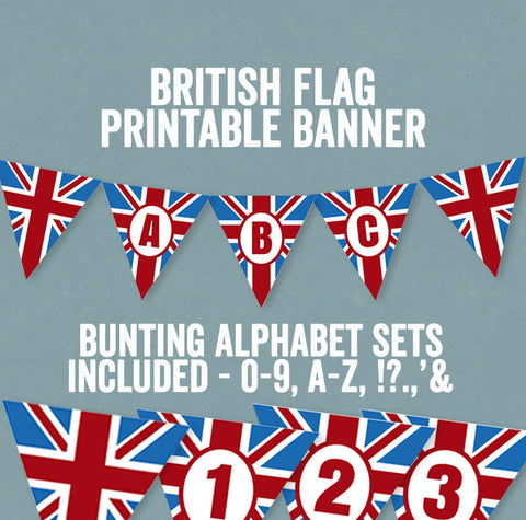 Printable British Flag Bunting - Full Alphabet/Number