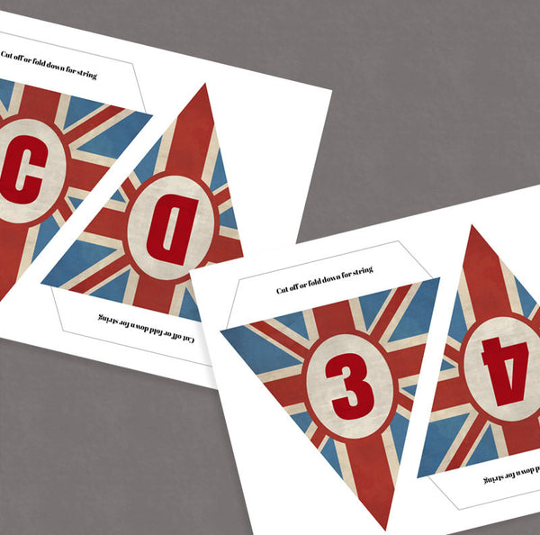 Printable British Vintage Bunting, Full Alphabet and Number