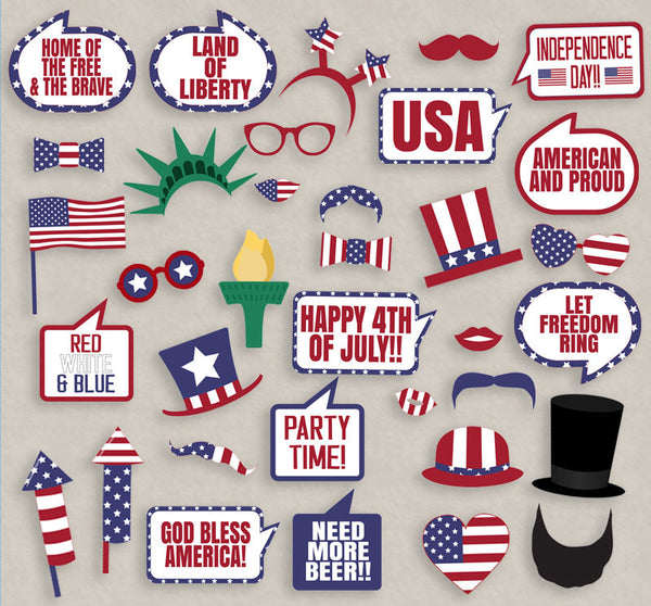 35 x 4th of July, USA Themed Printable Photo Booth Props