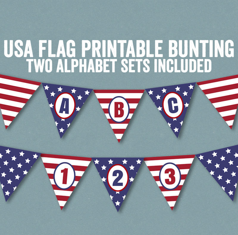 USA Flag Bunting, Alphabet and Number Set of 2
