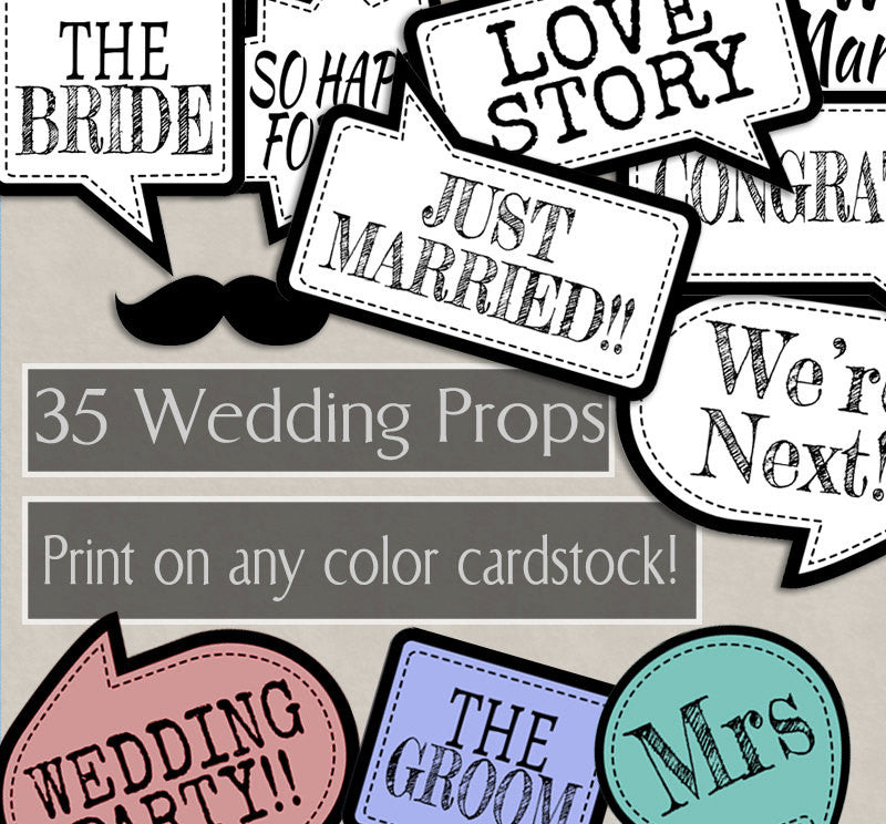 35 x Any Colour Wedding Props - save ink by printing on any cardstock