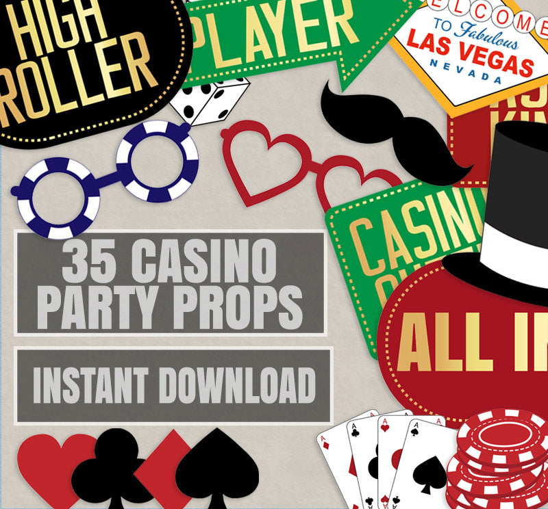 35 x Casino Party DIY Photo Booth Props