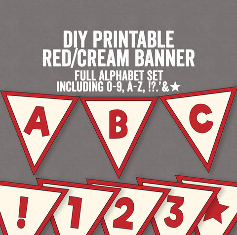 DIY Retro Red and Cream Bunting Printable - Full Alphabet/Numbers