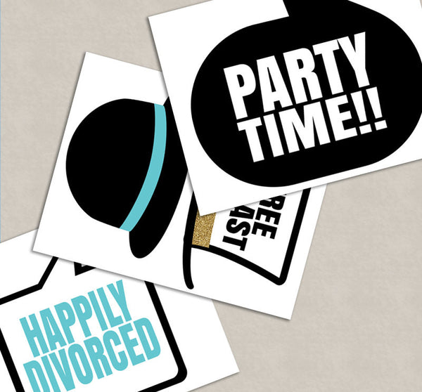 35 x Divorce Party Photo Booth Prop Printables
