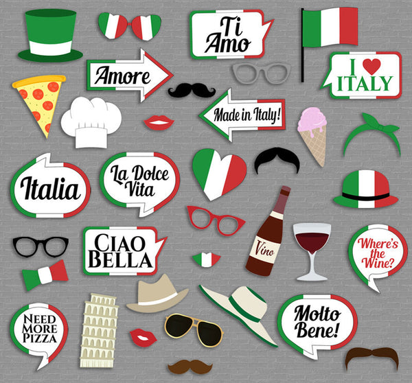 35 x Italian Photo Booth Prop Printables
