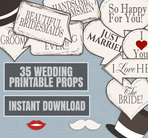 35 x Vintage Style Wedding Printable Props