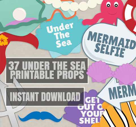 37 x Under the Sea DIY Photobooth Props