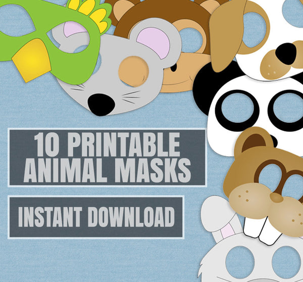 10 x Animal Mask Printables for Kids Party Games