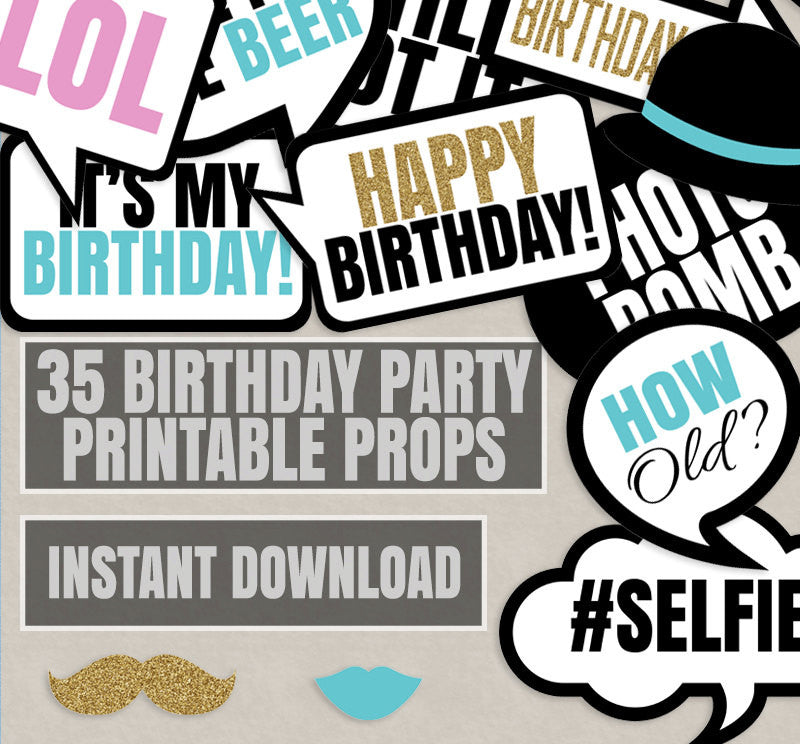 35 x Any Birthday Age Photobooth Props