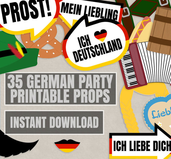 35 x German Photobooth Party Props Printables