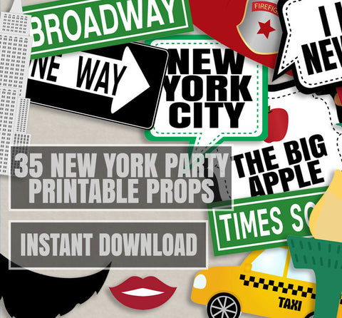 35 x New York Party Photo Booth Props