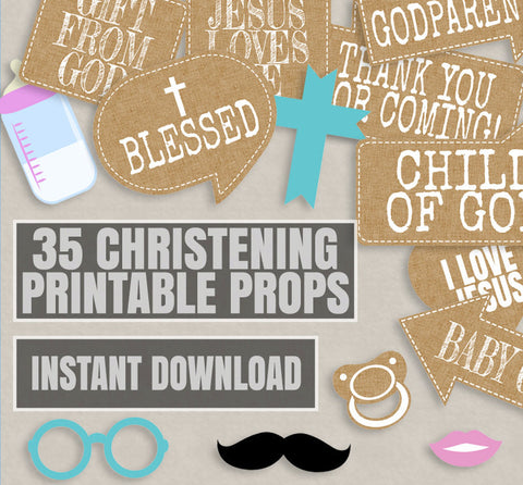35 x Rustic Chic Style Christening Props