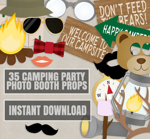 35 x Camping Party Photo Booth Props