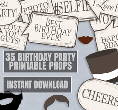 35 x Chic Birthday Photobooth Props