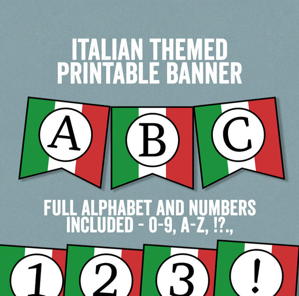 Italian Flag Bunting Printable, Full Alphabet and Numbers