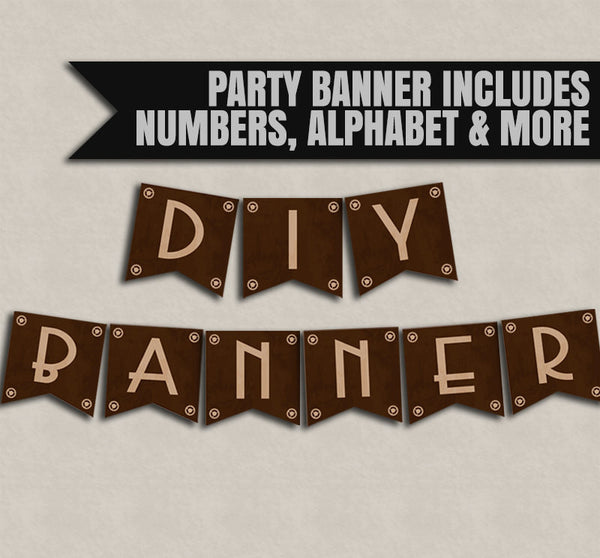 Steampunk DIY Banner - Full Printable Alphabet and Numbers