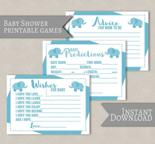 Blue Baby Shower Printable Games, Elephant Theme, Set of 3
