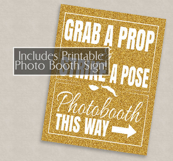 35 x Gold Glitter Birthday Photo Booth Props