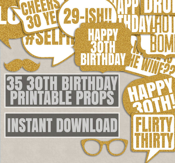 35 x 30th Birthday Gold Glitter Printable Props