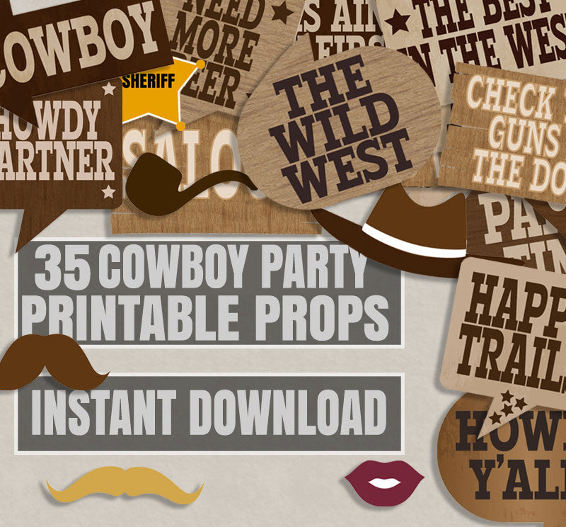 35 x Wild West Party Theme Prop Printables