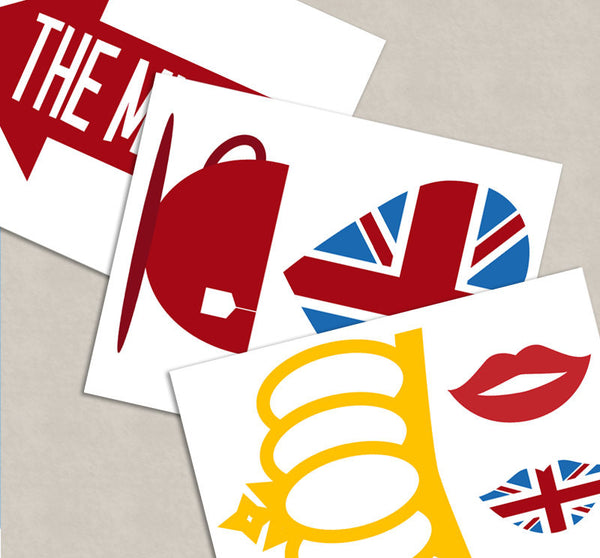 35 x British Party Theme Photo Booth Props