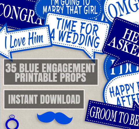 35 x Dark and Navy Blue Engagement Photo Props