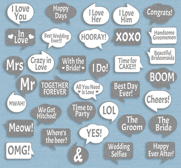 35 x Silver Glitter Wedding Photo Booth Props